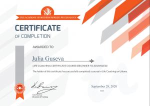 Julia Guseva - Life coaching - 28.09.2020