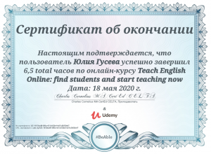 Julia Guseva - Teaching English Online - 18.05.2020